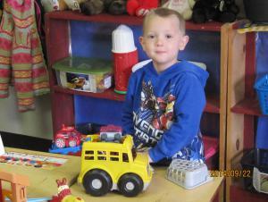 Noah learning about transportation