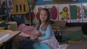 Raelyn close to first day, taking care of our babies, love having her.