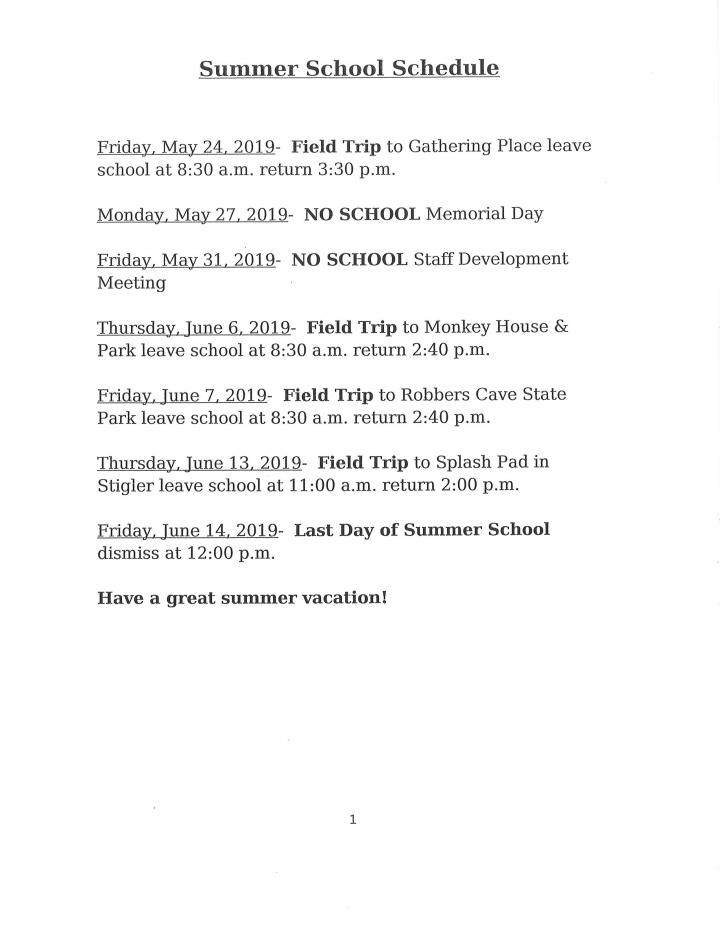 2019 summer school schedule