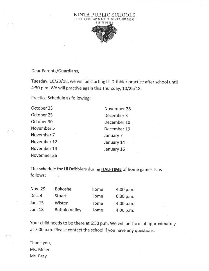 lil dribblers schedule