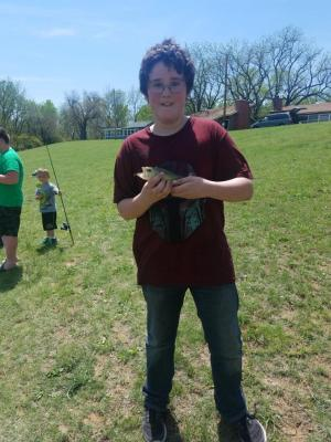 Ethan has a good hold on this bass.
