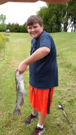 Jason with his catfish