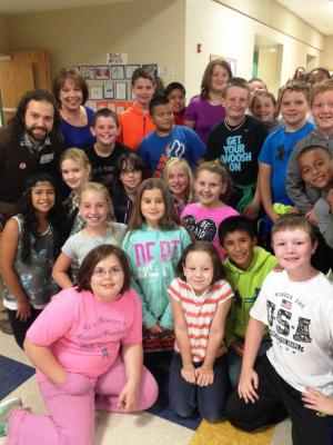 Guest speaker, Kent Butler, poses with Mrs. Swofford's class!