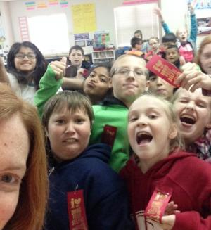 Mrs. O'Dell's class takes a red ribbon week selfie!