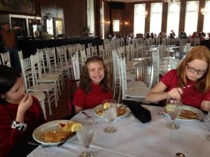 Students eat lunch in the Crystal Dining Room