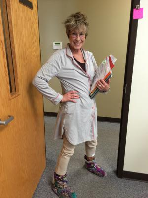 Mrs. T rocks it on pajama day!