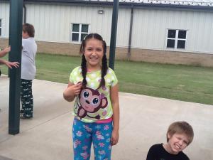 Karina is having fun on pajama day!