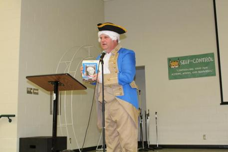 Living history; a visit from George Washington.