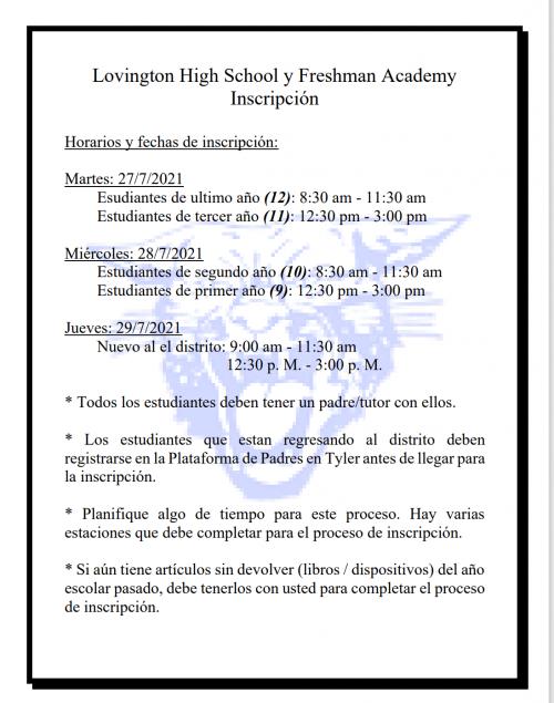 Enrollment Spanish