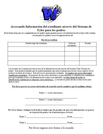 Parent Portal Agreement Spanish