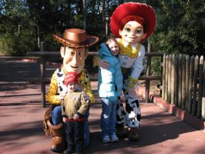 Blair & Bradyn with Woody & Jessie at DisneyWorld - January, 2010