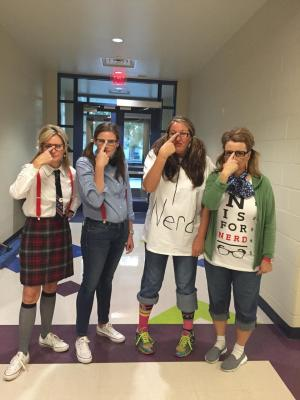 Scalf, McCalvin, me, & Bergner Nerd Day Red Ribbon Week