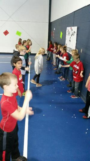 Achievement Day marshmallow toss