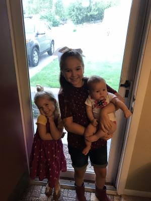 The girls' first day of school