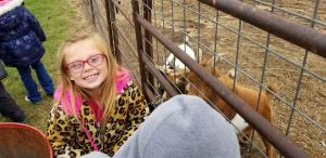 Feeding little goats at Happy Day Pumpkin Farm