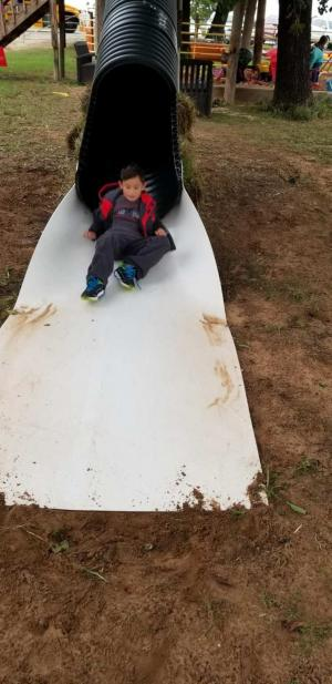 Sliding at Happy Day Pumpkin Farm