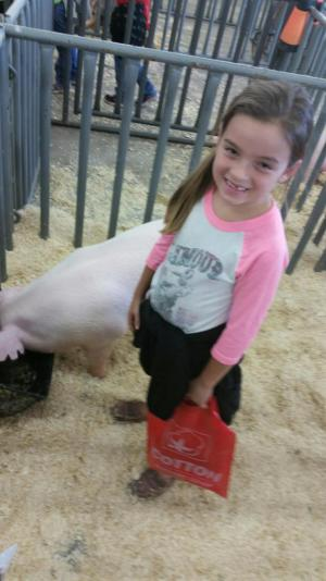Petting a pig