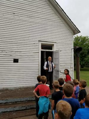 Going into the old school house at Harn Homestead