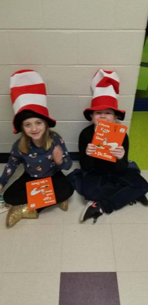Reading in the hall for Dr. Seuss Day