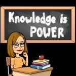 Bitmoji Knowledge is Power black background 2021