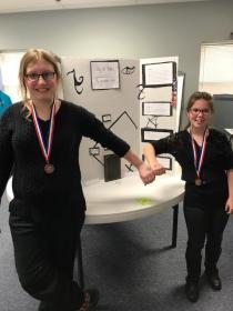 Reading Fair Winners-Kaelin Harding(L),Lori Richardson(R)-7th Grade Board Fiction presentation