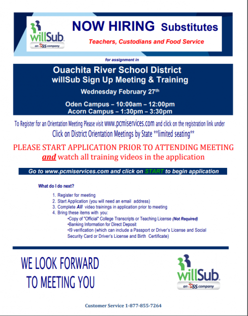 Willsub flyer for the website with dates for training