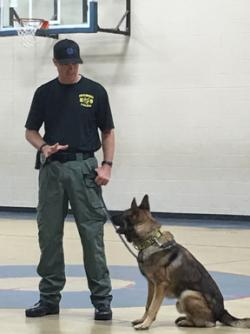 K9 Lennon Visits Park Road Students