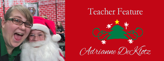 Teacher Feature: Miss DeKlotz with student dressed as Santa