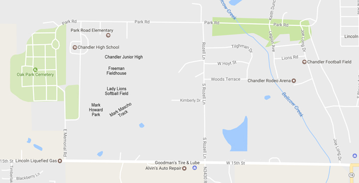 Chandler Public s - Athletic Facilities Map on