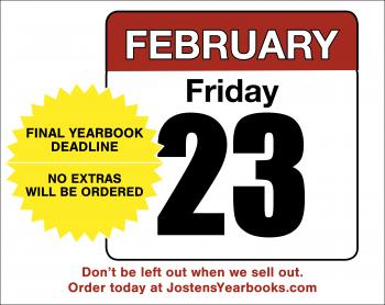 Yearbook sale ends february friday 23