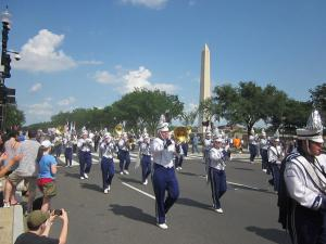 The ECP Band marching and playing in D.C.