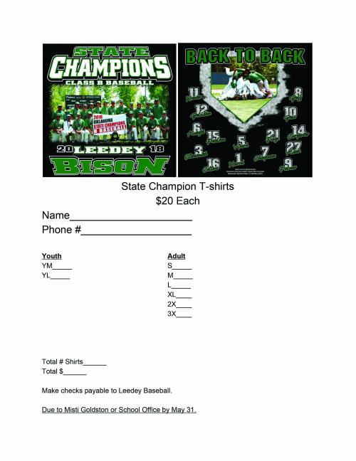 state champion t shirt order form