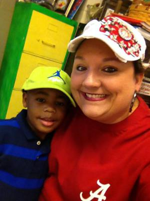 Mrs. Boulton and student hat Day 2015