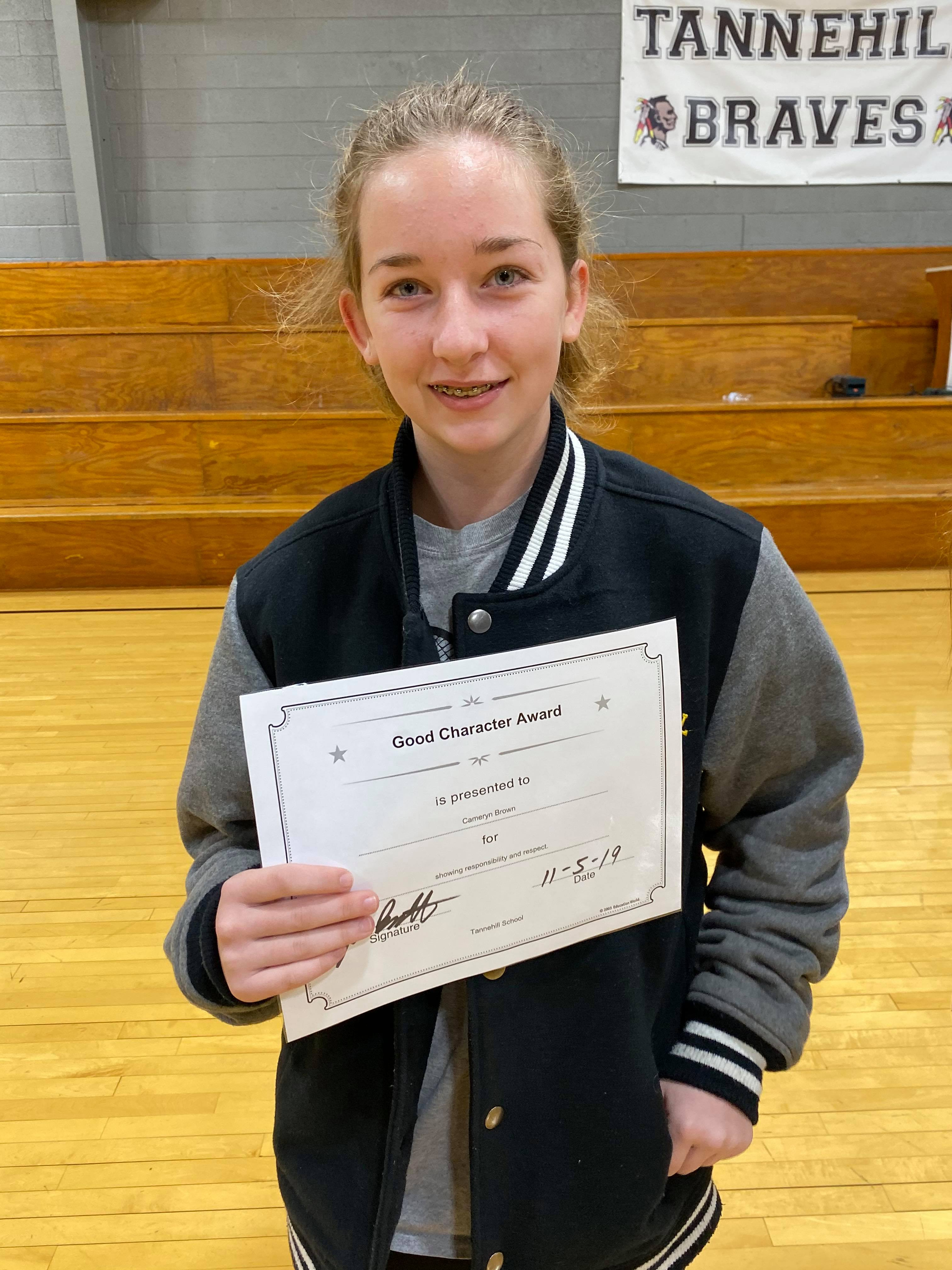 October Good Character of the Month:  Cameryn Brown