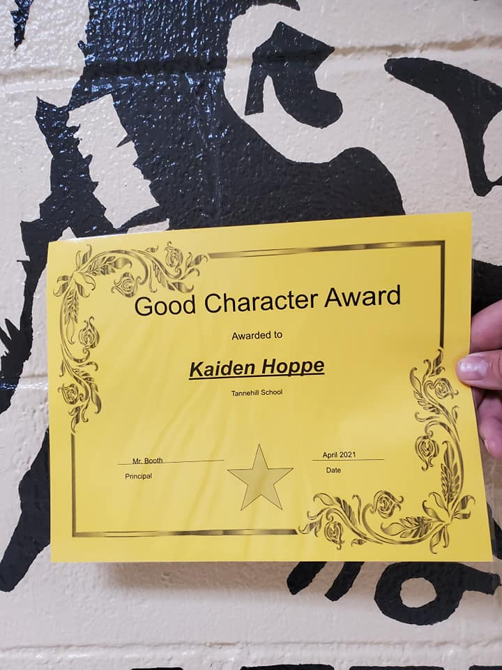 April Good Character of the Month: Kaiden Hoppe