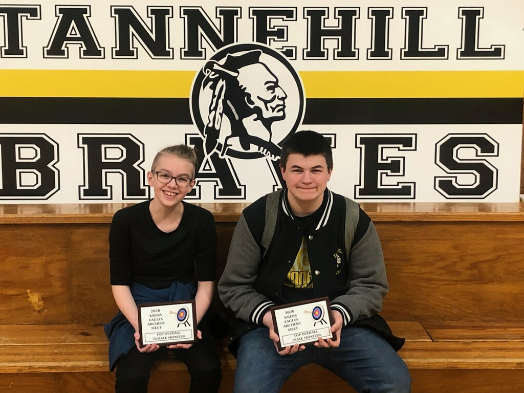 Congratulations to 8th Graders Evie Newton & Danny Pierce for competing in the Krebs Invitational Archery Shoot. Evie won Overall High Point Female with a score of 236, and Danny won Overall High Point Male with a score of 255! Great Job Braves!