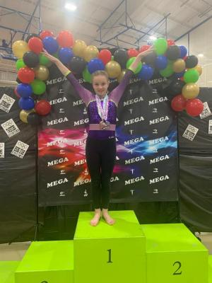 Addie Fox competed in the McAlester Mega Gymnastics Meet this weekend competing AAU Gold placing 2nd all around in her age division scoring a 36.05. She also competed Level 6 USAG placing 4th all around in her age division scoring a 33.2!