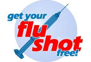 clip art showing a needle and saying get your flu shot
