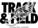black and white words saying Track and Field with a shoe and wings overlayed on top