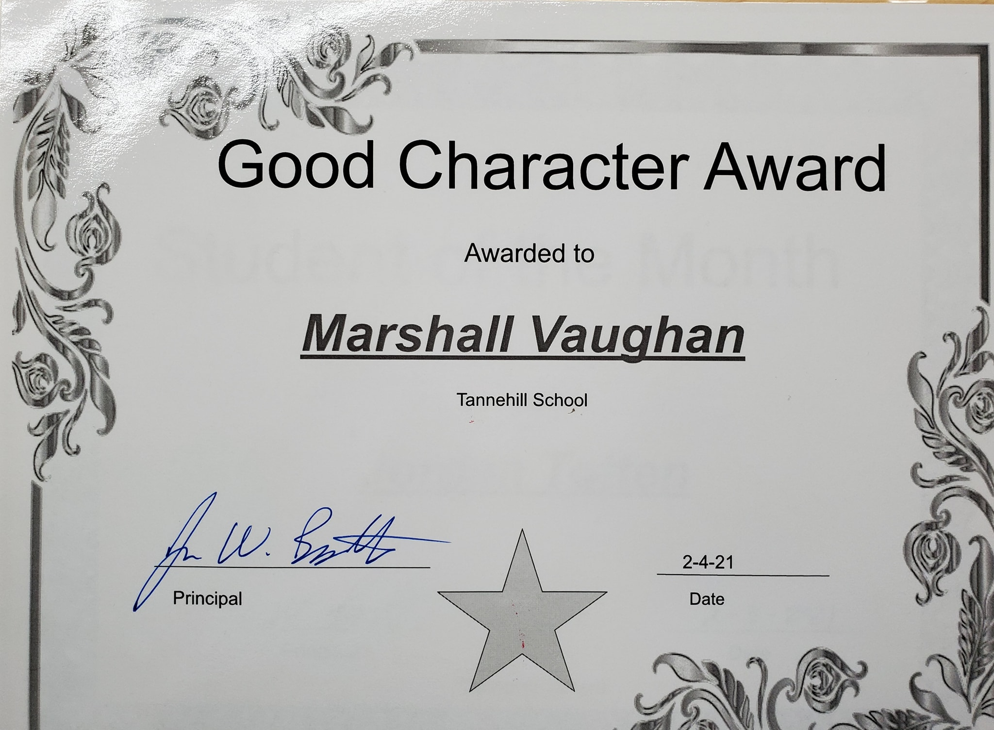 January Good Character of the Month: Marshall Vaughan
