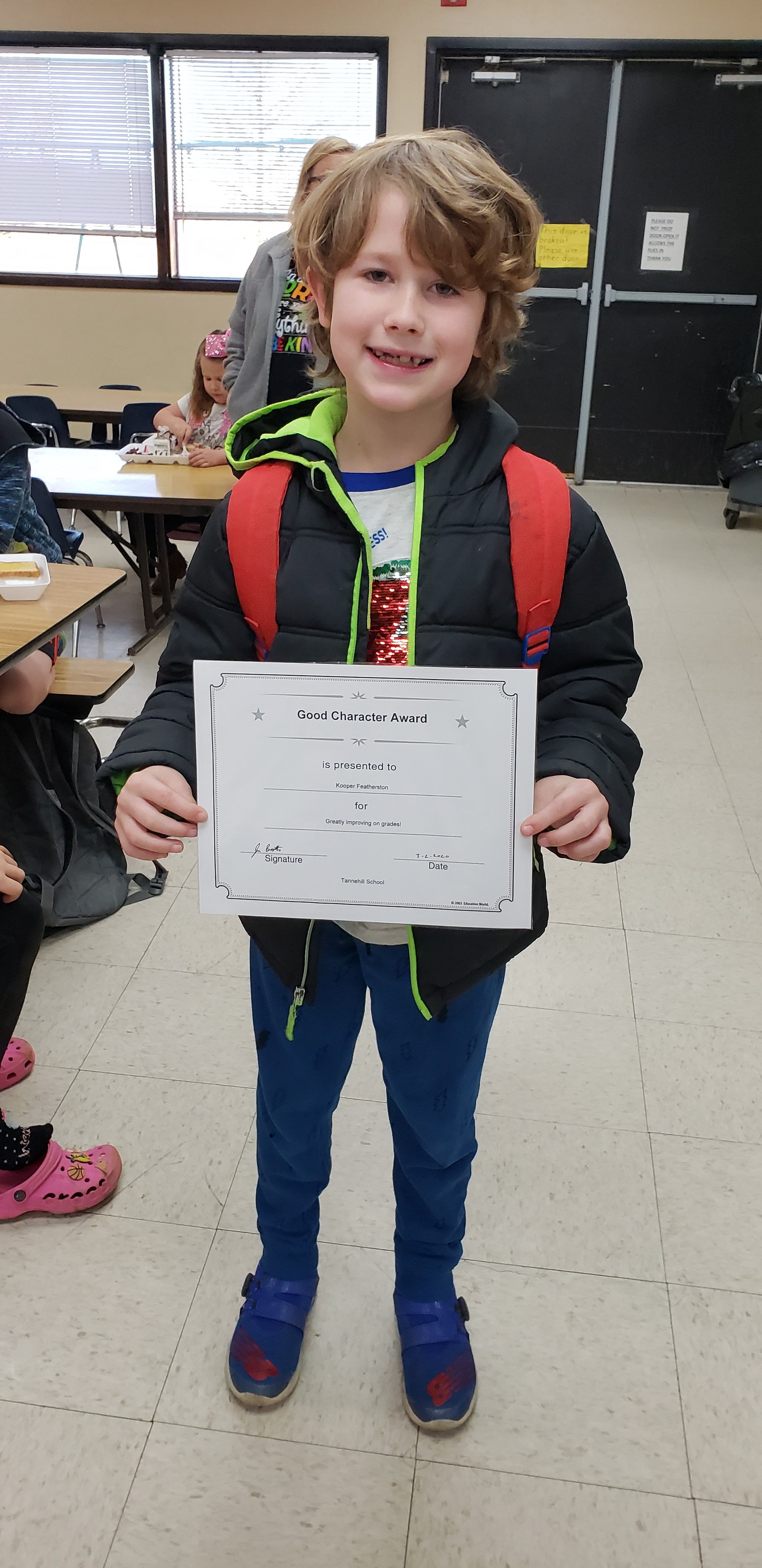 February Good Character of the Month:  2nd Grade Kooper Featherston