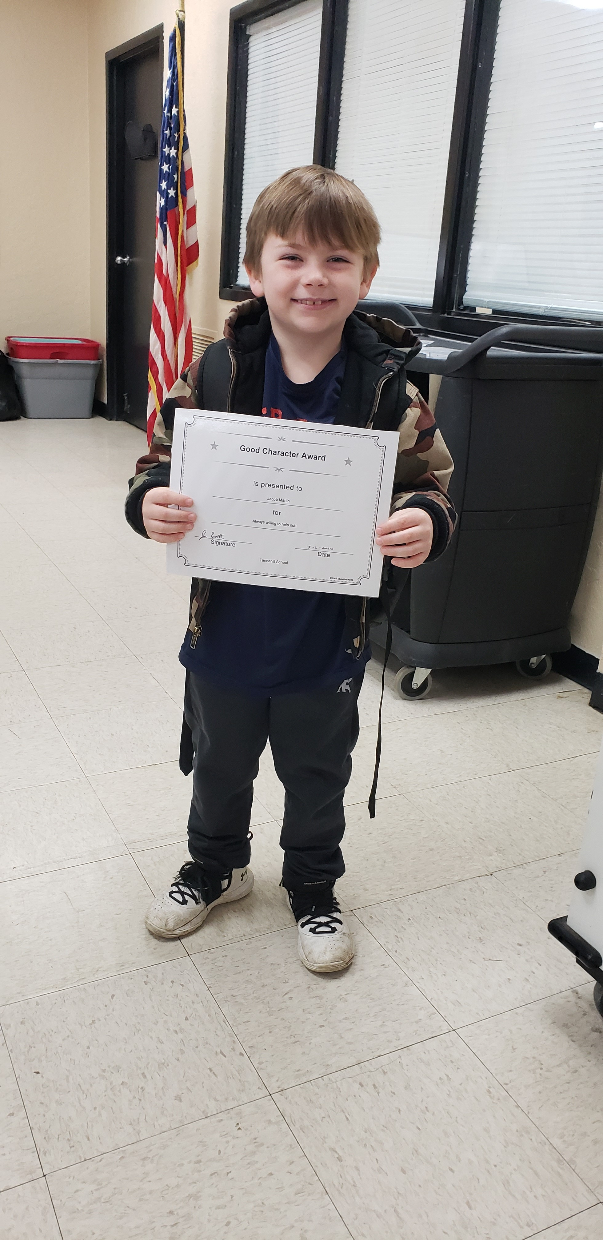 February Good Character of the Month: 1st Grade Jacob Martin