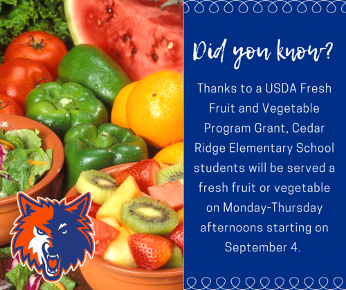 Cedar Ridge Schools was awarded a USDA grant to provide a fresh fruit or vegetable to each elementary student on Monday-Thursday afternoons!
