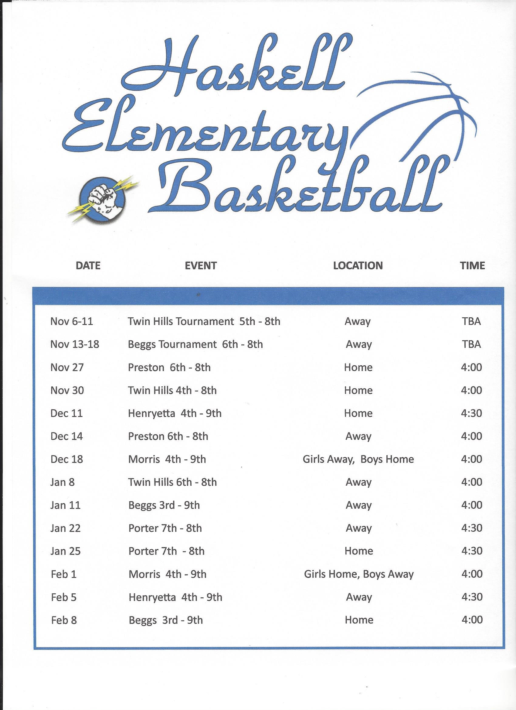 2017-2018 ES Basketball Schedule