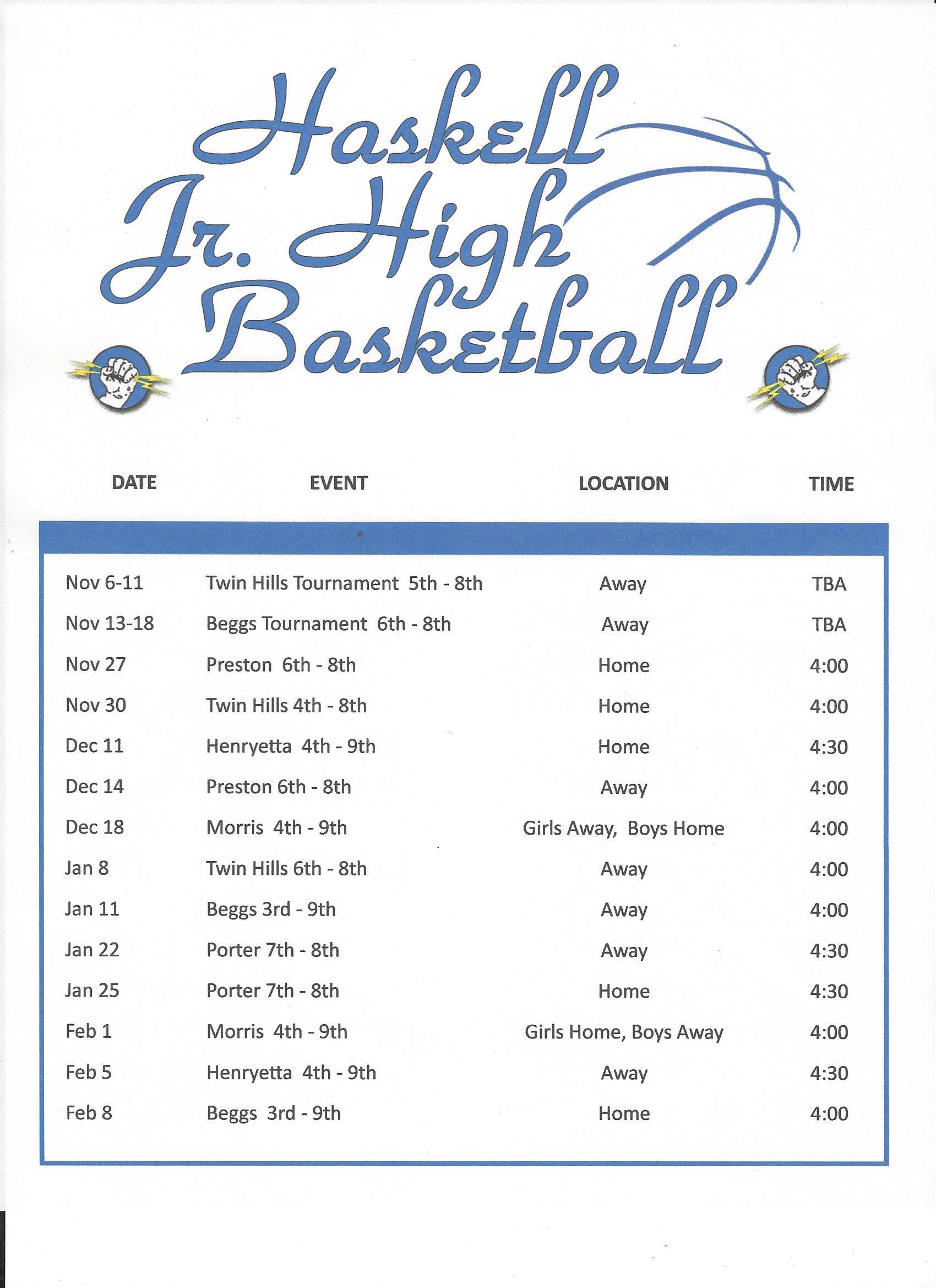 2017-2018 JH Basketball Schedule