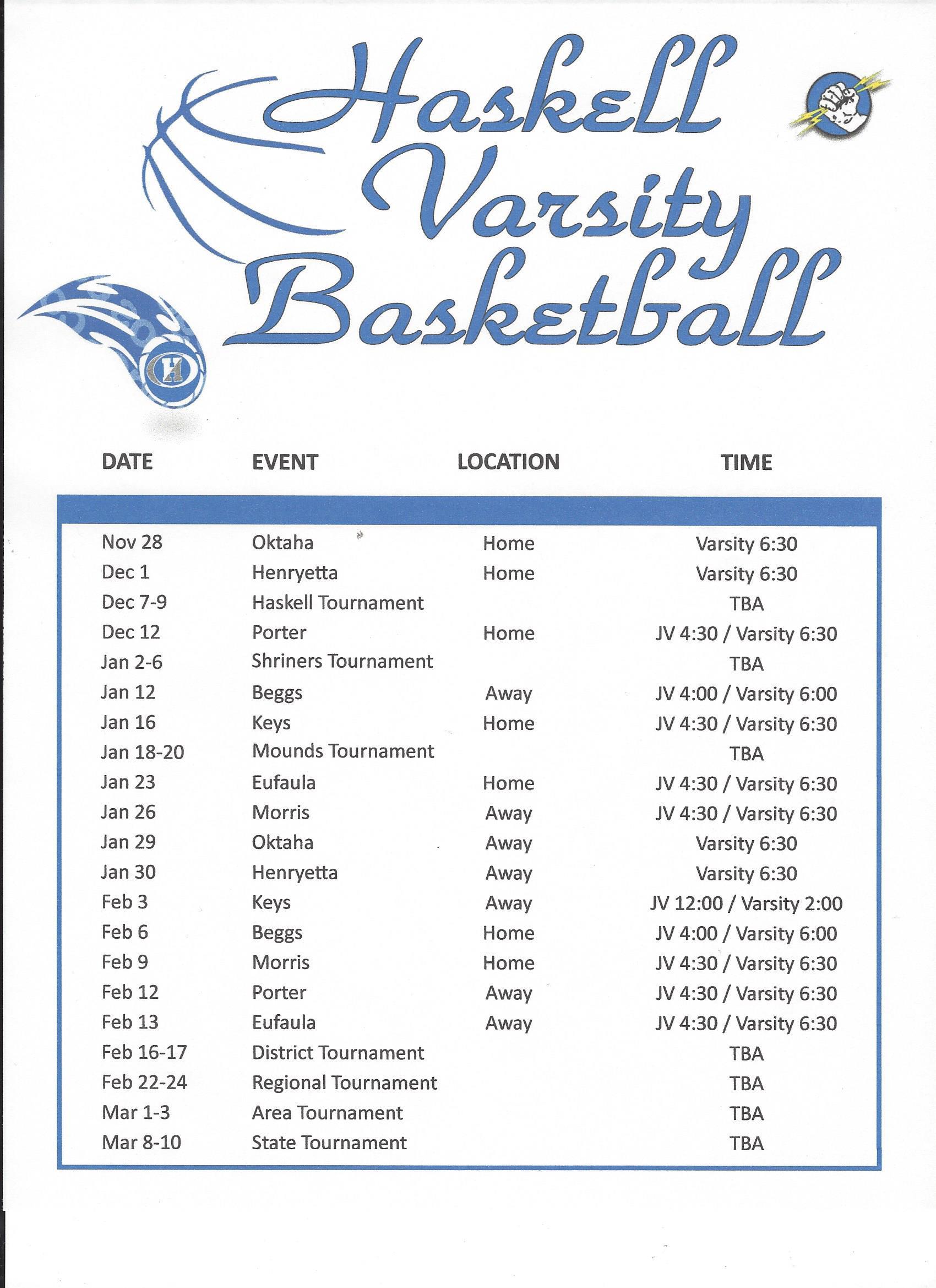 2017-2018 Varsity Basketball Schedule