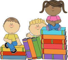 kids on book stacks