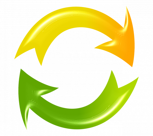 image of yellow and green arrows rotating