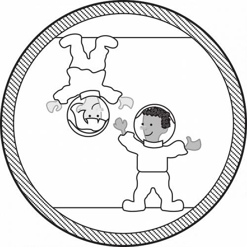 Two children both in astronaut suits, one child is standing upside down and the other standing correctly