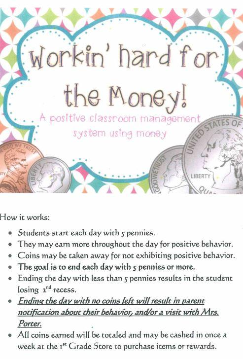 Image has pennies and colorful designs at the top. Words in it says working hard for the money! A positive classroom management system using money. Below the title is a list that says:  How it works, students start each day with 5 pennies. They may earn more throughout the day for positive behavior. Coins may be taken away for not exhibiting positive behavior. The goal is to end the day with 5 or more. Ending the day with less than 5 pennies results in the student losing 2nd recess. Ending the day with no coins left will result in parent notification about their behavior, and/or a visit with Mrs. porter. All coins earned will be totaled and may be casehd in once a week at the 1st grade store to purchase items or rewards.